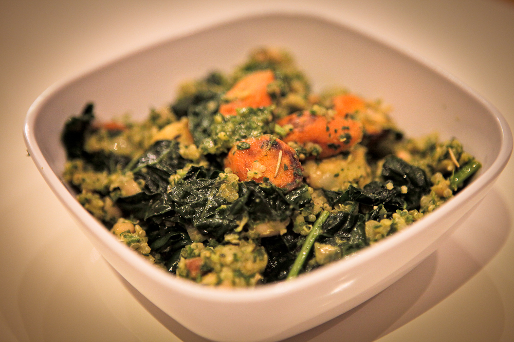 The Whole Carrot (aka Carrot, Parsnip, Kale, and White Bean Quinoa Bowl w/Carrot Top Pesto)