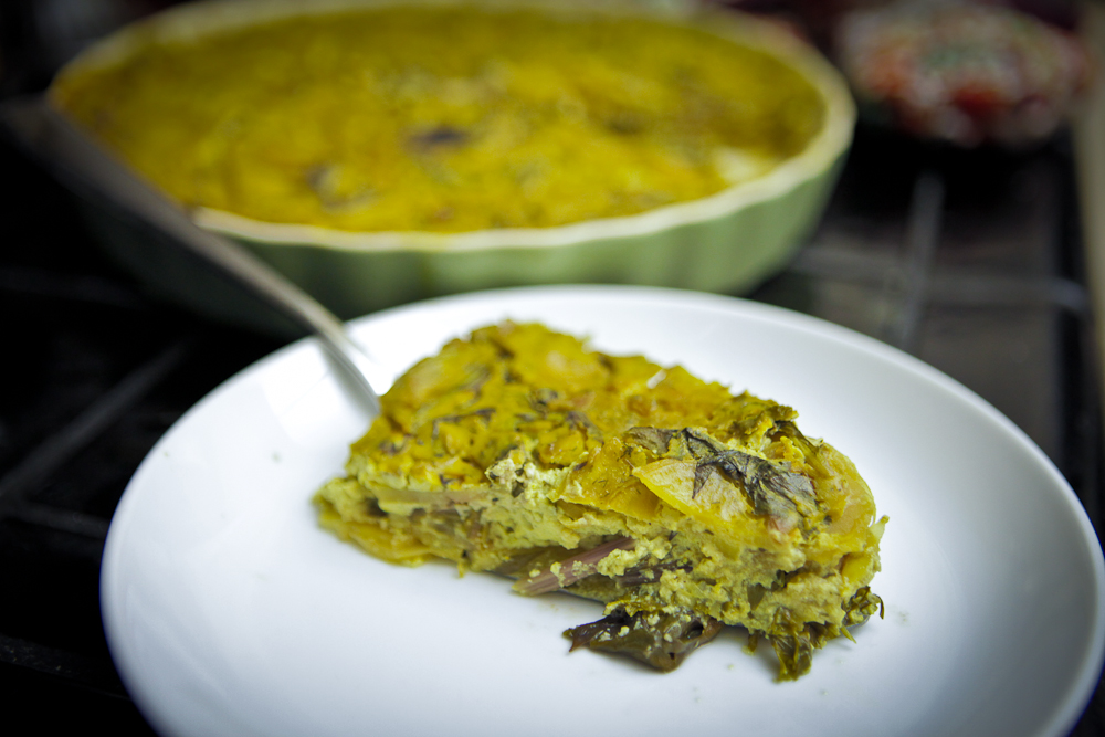 Lemony Mustard Green & Potato Crustless Quiche