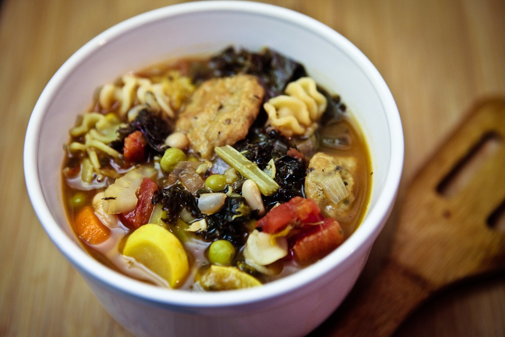 Minestrone with Mini Seitan Meatballs