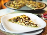 Wild Mushroom Pistachio Pesto Pizza with Tofu Chvre