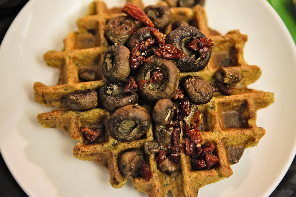 Green Onion Chickpea Waffles with Roasted Mushrooms