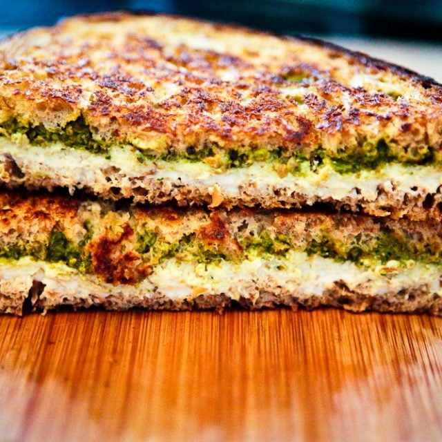 Grilled Pesto & Chevre Sandwich