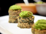 Dandelion &amp; Bean Quinoa Cakes with Peasamole