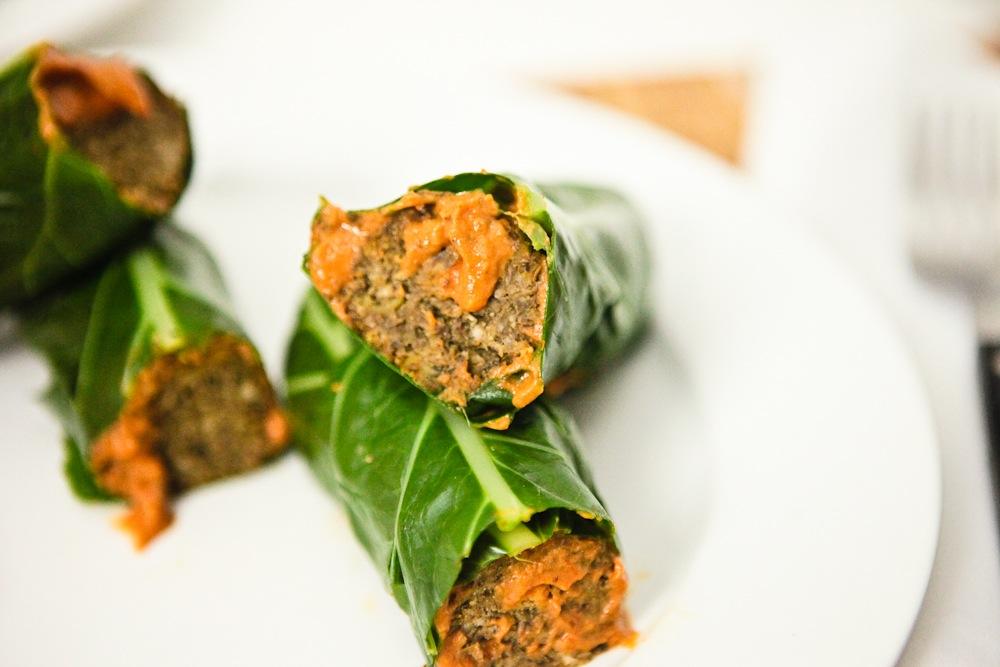 Lentil Mushroom Meatball Collard Wrap Subs |