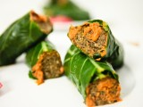 Lentil Mushroom Meatball Collard Wrap Subs