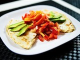 Cadry&#8217;s Cauliflower Queso Quesadillas with Nectarine Bell Pepper Salsa