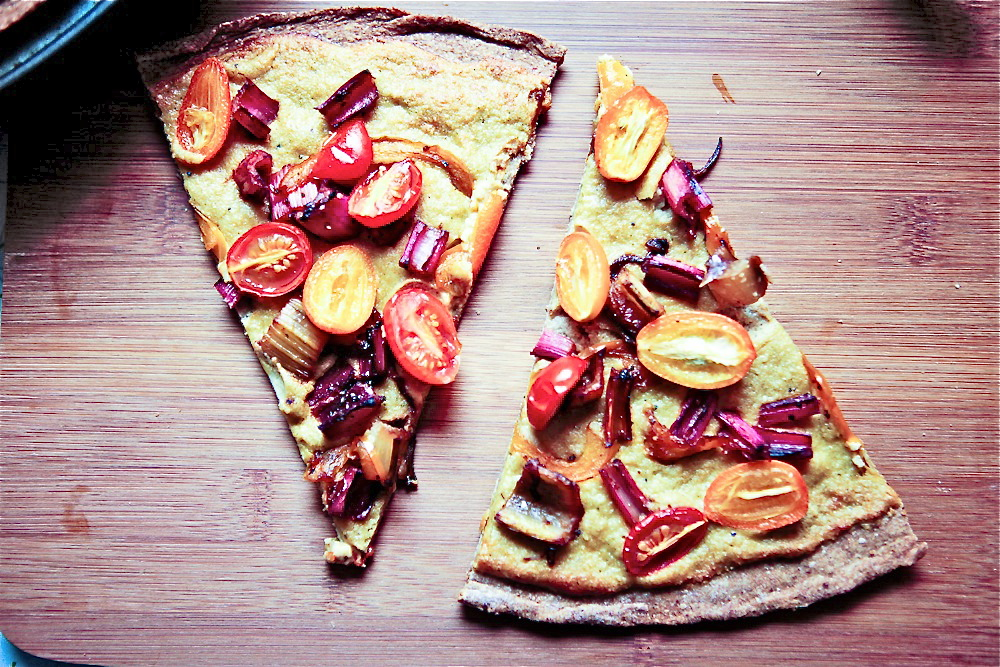 Kumquat & Rainbow Chard Stem Pizza with Cashew Hemp Cheese Sauce