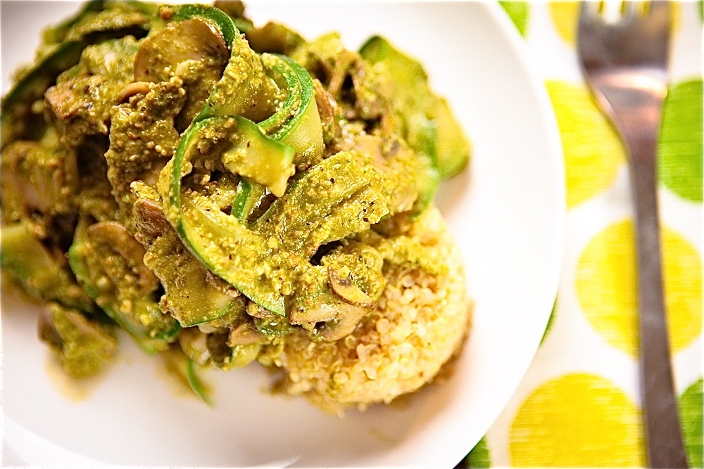 Zucchini Pasta with Pesto & Mushrooms