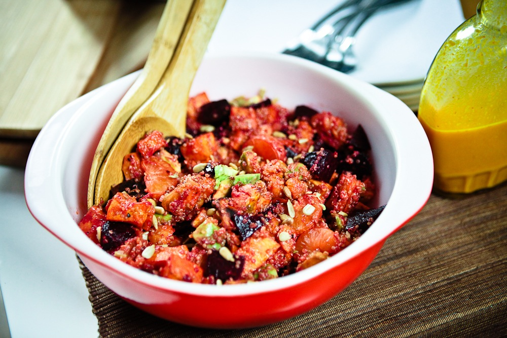 Virtual Vegan Potluck: Sweet Potato & Beet Salad with Saffron Citronette