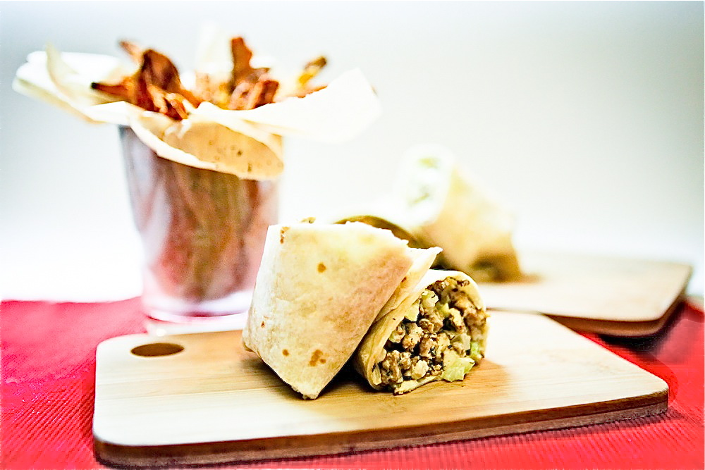 Chickenless Salad Wrap & Spicy Sweet Potato Fries
