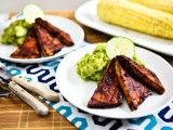 Avo-Pesto Cucumber Salad with BBQ Tofu Cutlets and Corn on the Cob