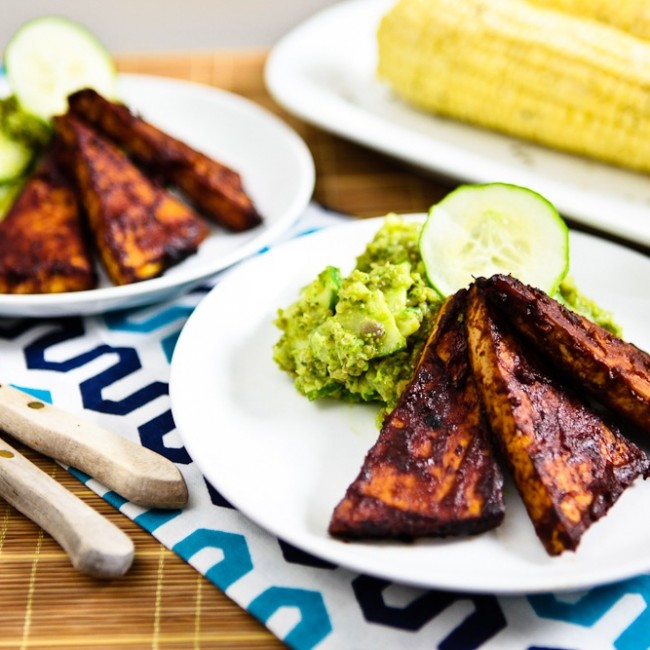Avo-Pesto Cucumber Salad with BBQ Tofu Cutlets and Corn on the Cob 8
