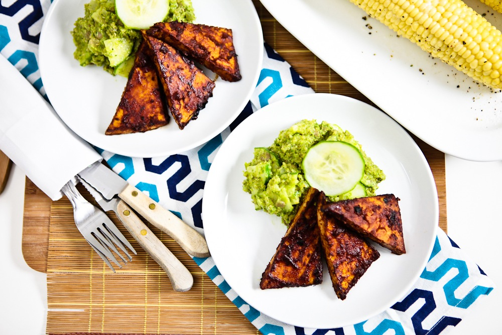 Avo Pesto Cucumber Salad with BBQ Tofu Cutlets and Corn on the Cob