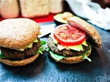 Lentil Mushroom Cheeseburgers made with Sun-Dried Tomato Pesto Cashew Cheez