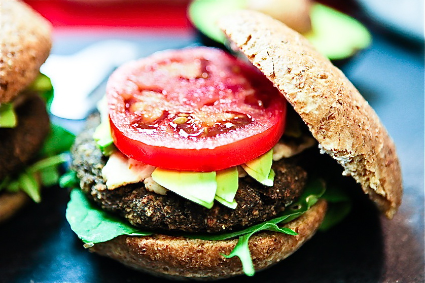 Lentil Mushroom Cheeseburgers made with Sun Dried Tomato Pesto Cashew Cheez