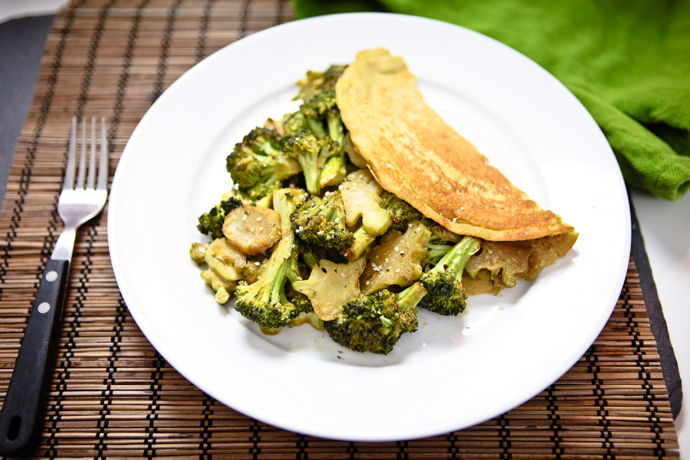 Chilla (Chickpea Omelet) with Maple Roasted Cheezy Broccoli