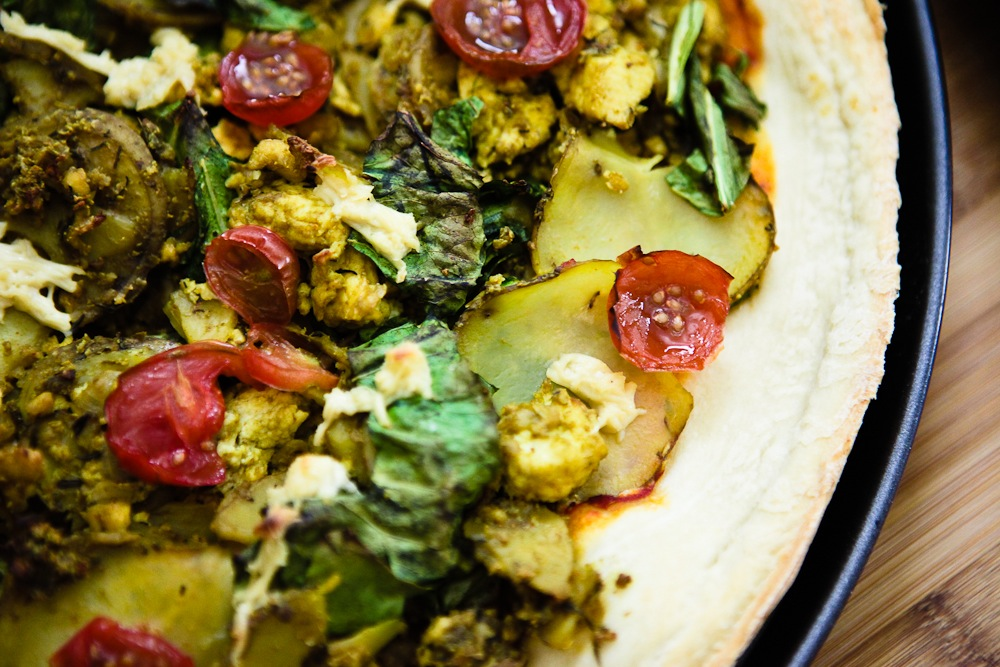 Taters n Greens Tofu Scramble Pizza