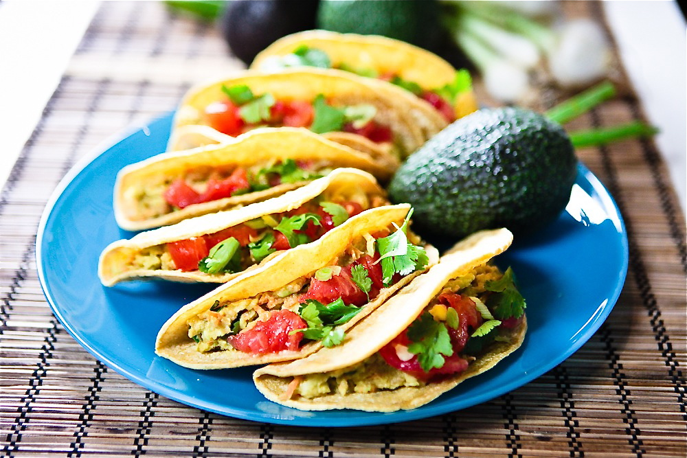 Cilantro Avocado Chickpea Salad Tacos