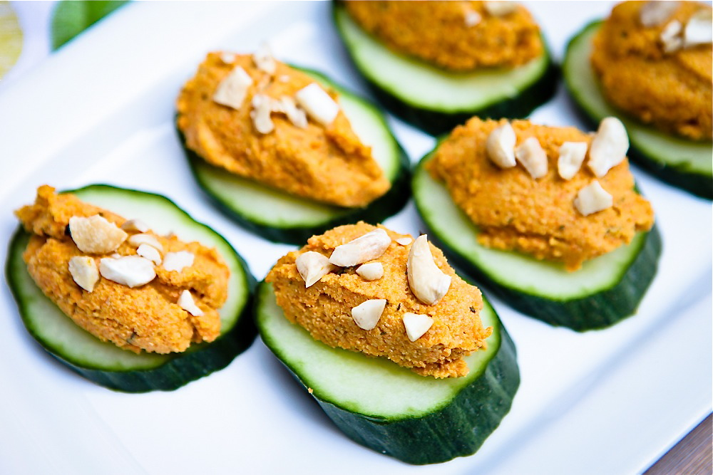 Carrot cashew p t cucumber canap for Canape receipes