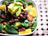 BBQ Tofu, Edamame &amp; Pineapple Spinach Salad with Nectarine Balsamic Dressing