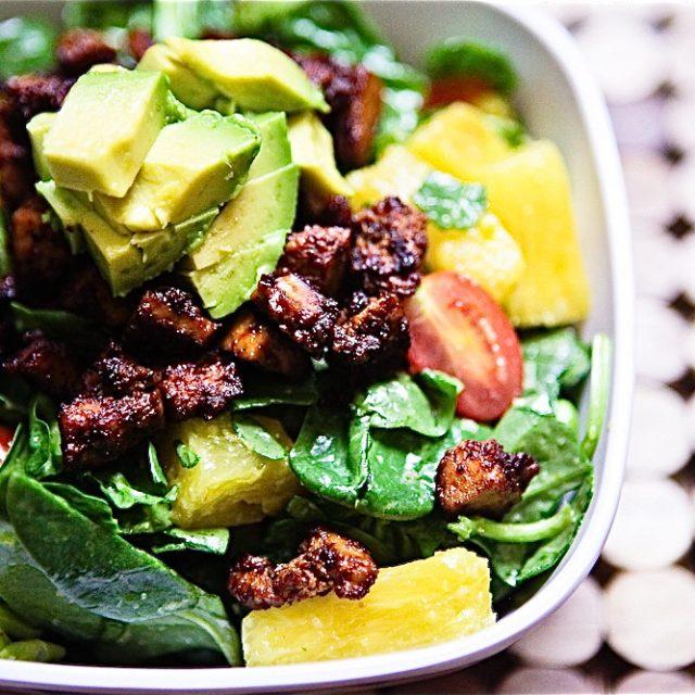 BBQ Tofu, Edamame & Pineapple Spinach Salad