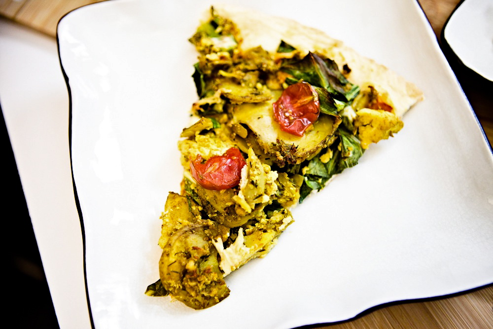 Taters 'n' Greens Tofu Scramble Pizza