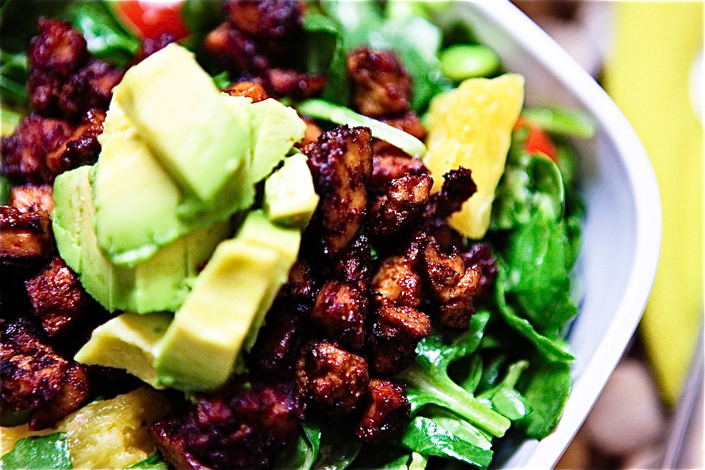 BBQ Tofu, Edamame & Pineapple Spinach Salad with Nectarine Balsamic ...