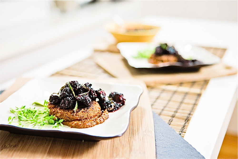 Black-Eyed Pea Mole Cakes with Blackberry Mint Salsa