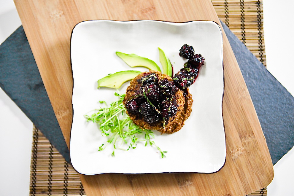 Black Eyed Pea Mole Cakes with Blackberry Mint Salsa