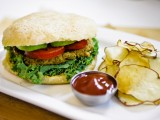 Savory Sage &amp; Flower Burgers with Baked Potato Chips