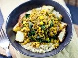 Curried Lentils, Corn, &amp; Chard with Roasted Potatoes