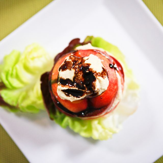 Tomato Nectarine Salad with Roasted Garlic Cashew Ricotta 1