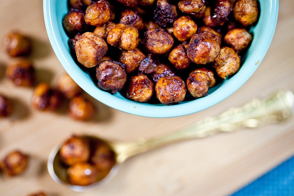 Maple Glazed Cinnamon Roasted Chickpeas