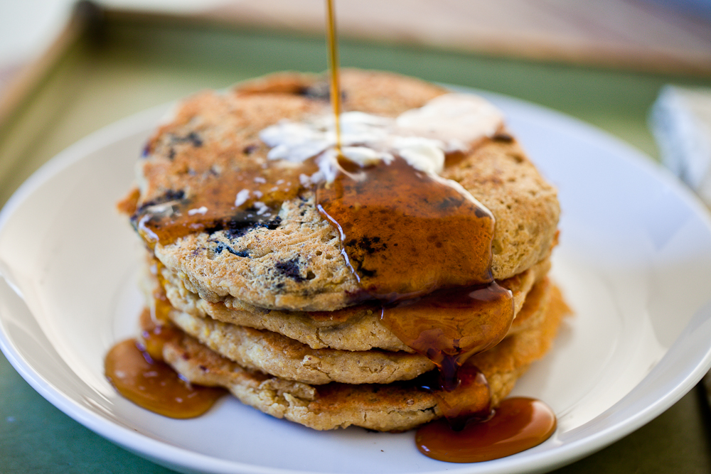 Lemon Blueberry Oatmeal Pancakes