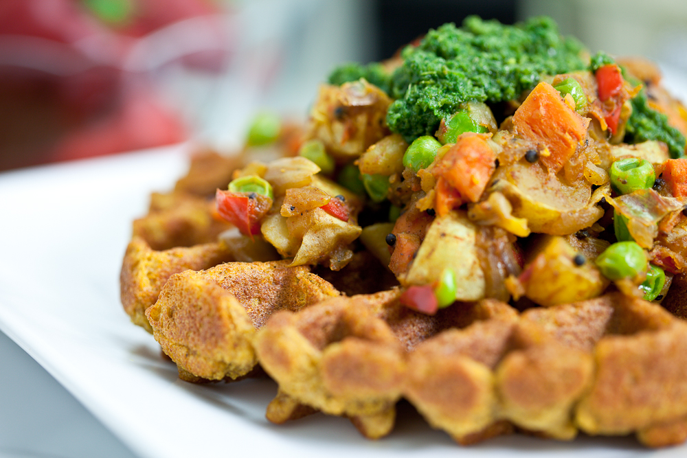 Chana Masala Waffles with Samosa Potatoes and Cilantro Mint Chutney ...
