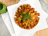 Chana Masala Waffles with Samosa Potatoes and Cilantro Mint Chutney