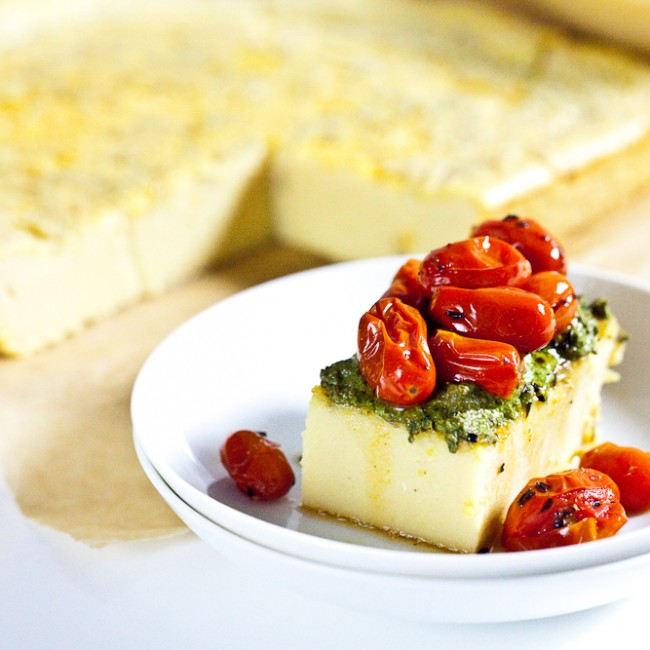 Chickpea Flatbread & Roasted Cherry Tomatoes