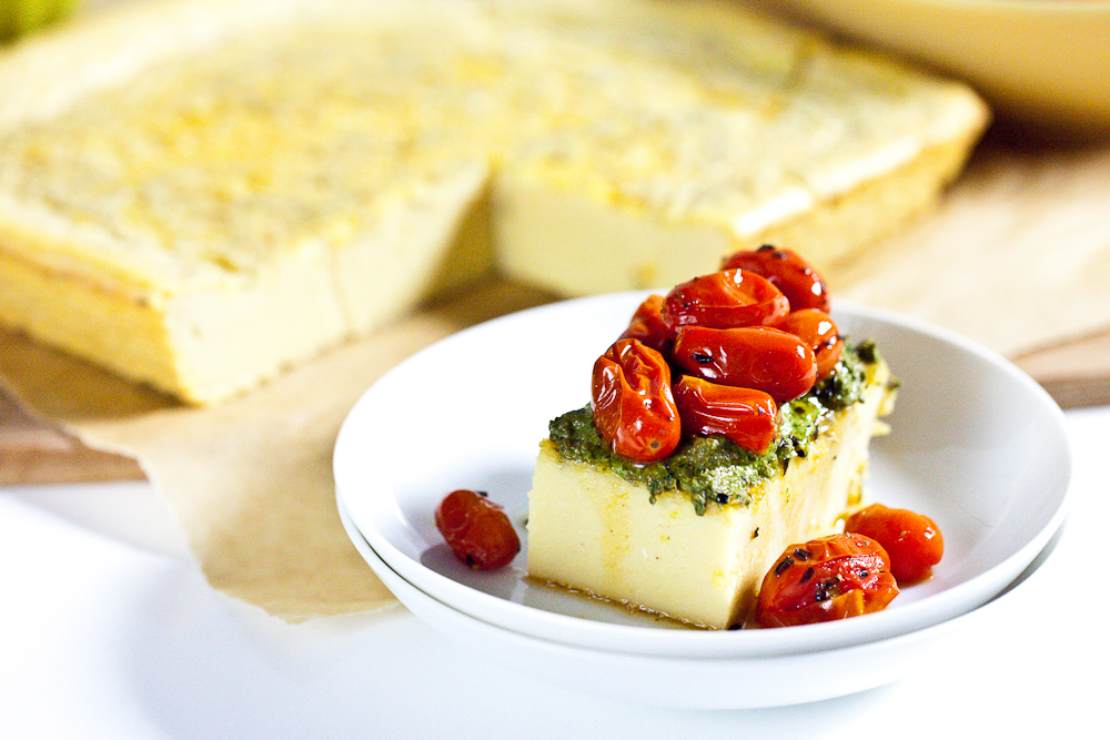 Chickpea Flatbread & Roasted Cherry Tomatoes