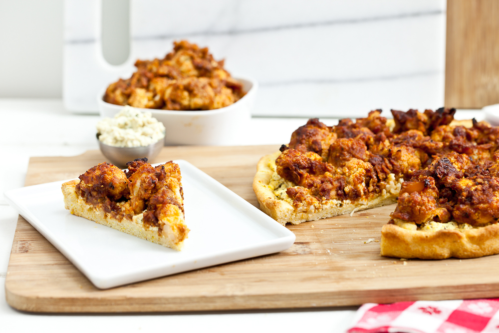 Buffalo Cauliflower Wing Pizza with Tofu Blue Cheese Spread