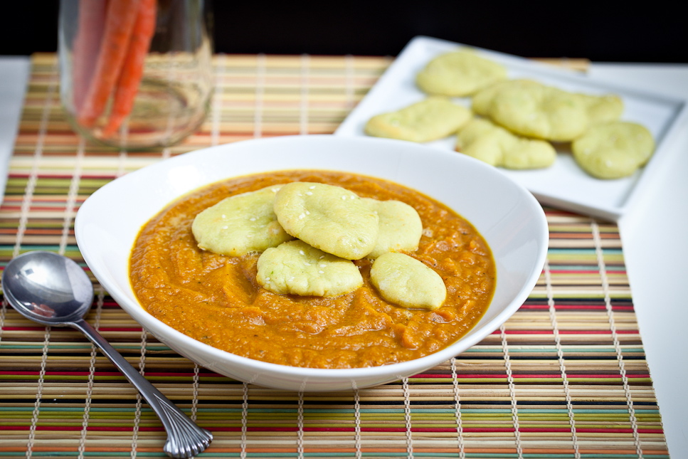 Curried Acorn Carrot Soup with Avocado Naan Croutons