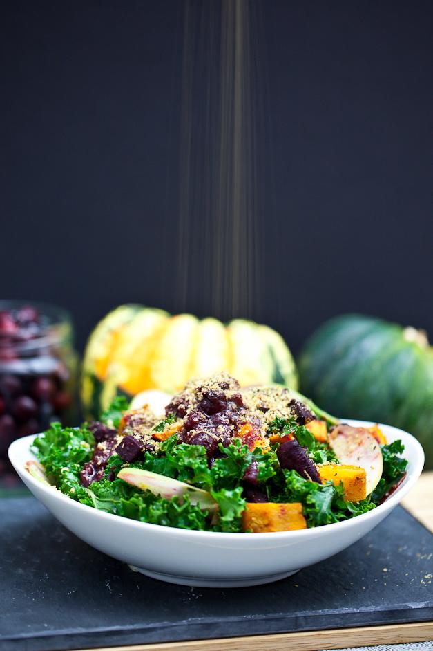 Red Kuri & Beet Kale Salad with Cranberry Orange Balsamic Dressing ...