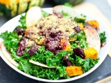 Red Kuri &amp; Beet Kale Salad with Cranberry Orange Balsamic Dressing &amp; Pecan Parmesan