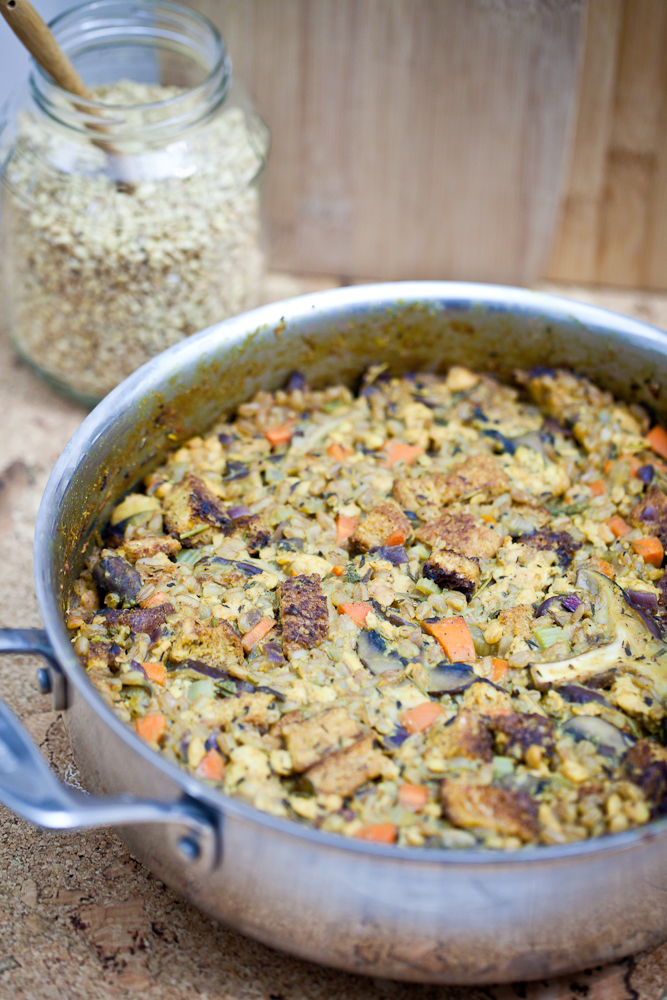 Smoky Tempeh & Shiitake Farrotto Stuffing