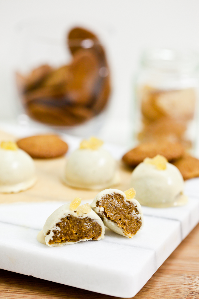White Chocolate Pumpkin Gingersnap Truffles