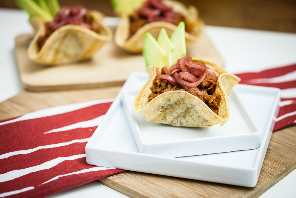 Mini BBQ Soy Curl Taco Bowls with Pickled Onions