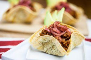 Mini BBQ Soy Curl Taco Bowls with Pickled Onions 4