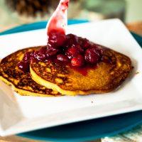 persimmon cornmeal pancakes