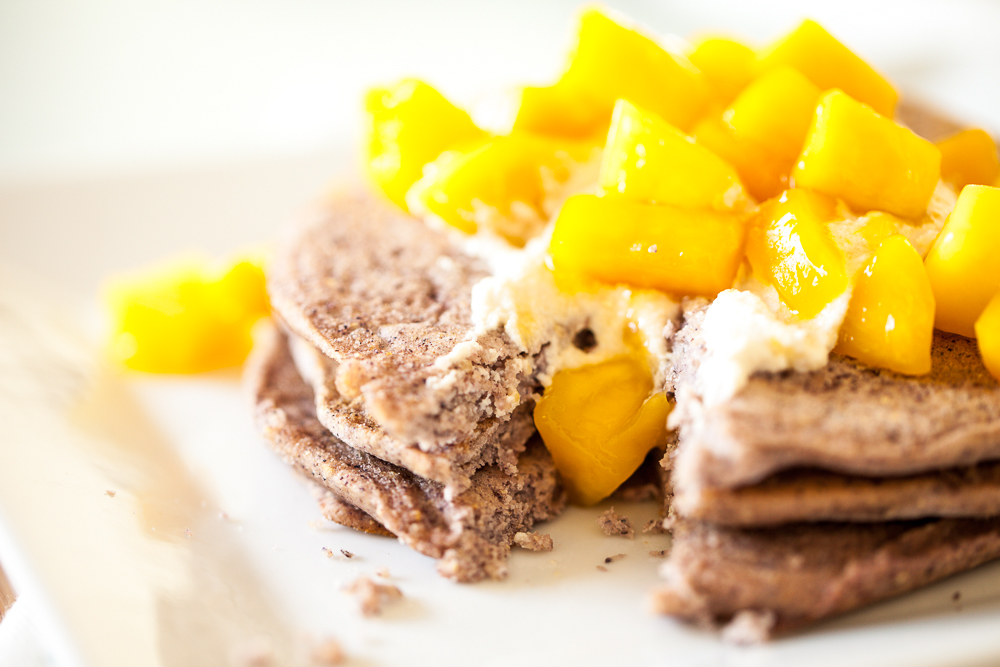 Blue Corn Pancakes with Sweet Cashew Ricotta and Mango Sauce