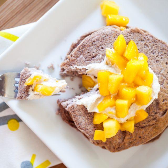 Blue Corn Pancakes w/Cashew Ricotta & Mango Sauce 1