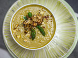 Cream of Asparagus Soup with Crispy Roasted Shallots